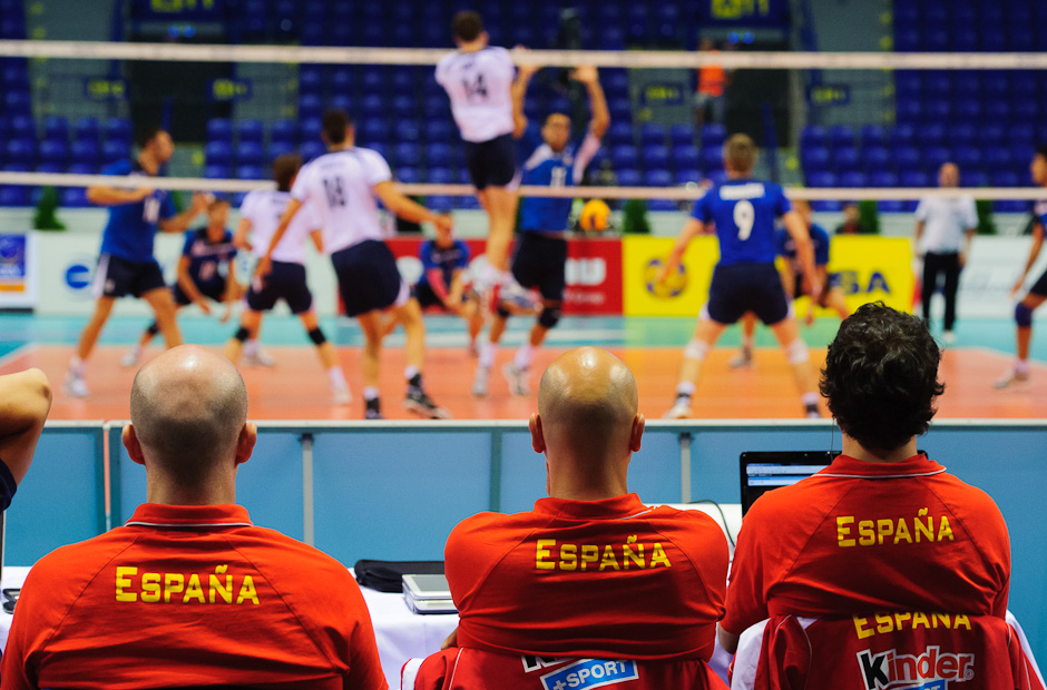Spanish trainer and scouts watching the game between Slovakia and Romania which had to decide who will be their oponent in the semifinals of Final Four - European league in volleyball, Steel Aréna Košice - Slovakia, Saturday 16.07.2011