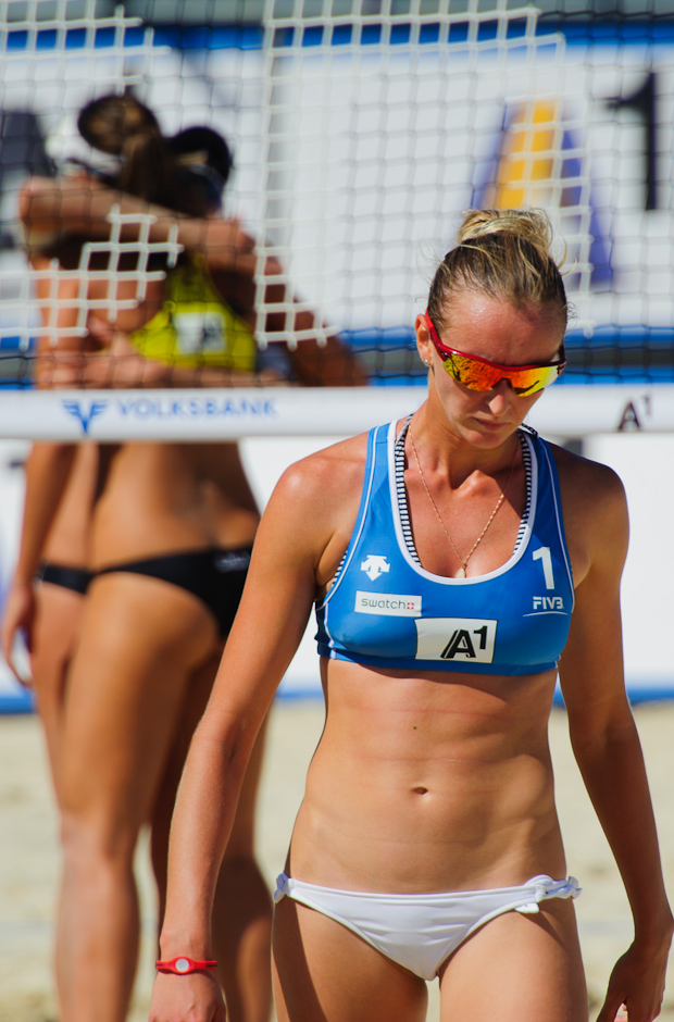Ekaterina Khomyakova (RUS) leaving the beach volleyball field after lost game to brasilian duo Lili-Vieira (BRA) during the A1 Gran Slam presented by Volksbank women 2011, part of the FIVB beach volleyball world tour, Klagenfurt - Austria, Tuesday 2.8.2011