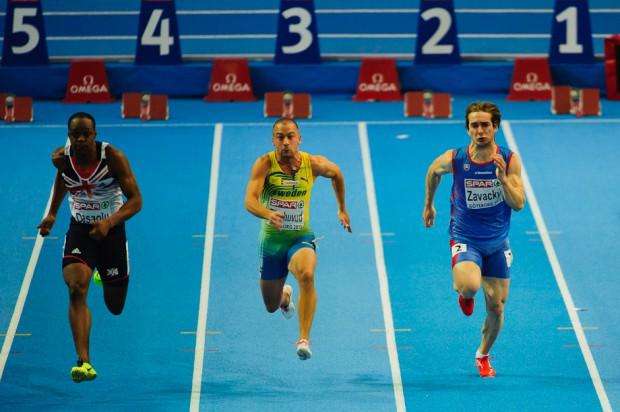 Adam Závacký, ktorý sa ako posledný v poradí kvalifikoval na semifinále v behu na 60m Majstrovstiev Európy v halovej atletike 2013, Göteborg, Švédsko, Piatok 1.3.2013
