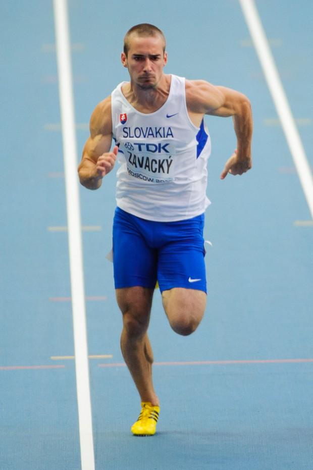 Adam Závacký v rozbehu na 100m počas Majstrovstiev sveta v atletike v ruskej metropole. Stal sa tak prvým Slovákom, ktorý v tejto disciplíne zastupoval Slovensko v ére samostatnosti. Moskva, Ruská federácia, Sobota 10.08.2013