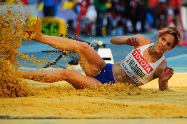 Janka Velďáková počas kvalifikácie v skoku do diaľky na Majstrovstvách sveta v atletike. Napriek jej najlepšiemu výkonu 648cm na vrcholovom podujatí jej ku kvalifikácii medzi 12 najlepších žien chýbalo 10cm. Moskva, Ruská federácia, Sobota 10.08.2013