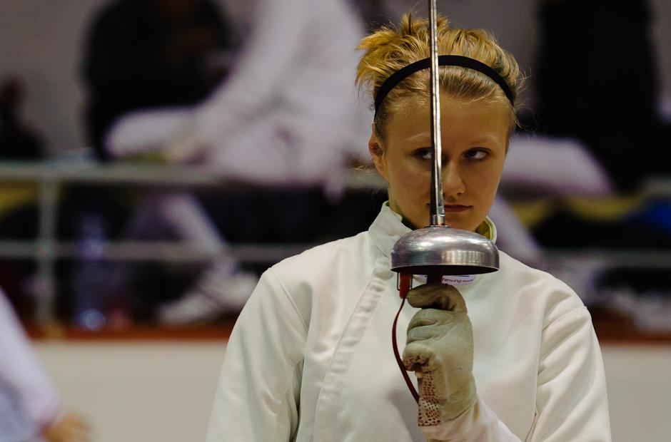 Katarína Hunčárová (SVK) preparing for the duel during fencing Meorial Ferdinand de Martinengo, Bratislava - Slovakia, Sunday 20.11.2011