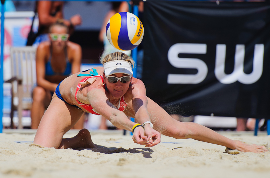Kerri Walsh (USA) receives the ball during the A1 Grand Slam presented by Volksbank - part of the FIVB beach volleyball world series in Klagenfurt. Together with May-Treanor-Walsh, they won the finals against Chinese duo Xue/Zhang Xi. Klagenfurt - Austria, Wednesday 3.8.2011