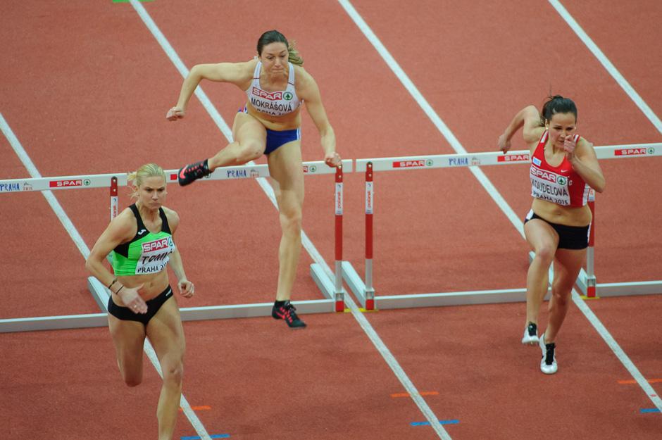 Lucia Mokrášová v kvalifikácii 60m behu cez prekážky počas halových Majstrovstiev Európy v atletike 2014, Piatok 6. Marca 2015, Praha, Česká Republika