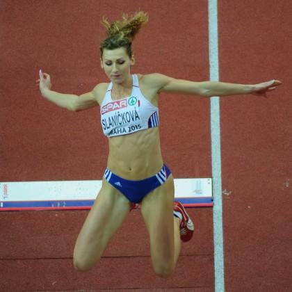 Lucia Slaníčková v kvalifikácii skoku do diaľky počas halových Majstrovstiev Európy v atletike 2014, Piatok 6. Marca 2015, Praha, Česká Republika