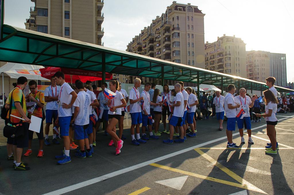 Príprava odchodu slovenskej výpravy Európskeho olympijskeho festivalu mládeže na úvodný ceremoniál v Tbilisi, Nedeľa, 26.7.2015, Tbilisi, Gruzínsko