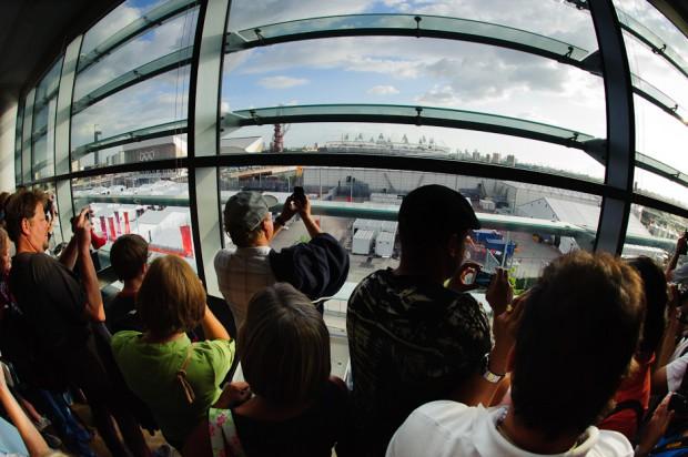 Pohľad na Olympíjsky park v londýnskom Stratforde z najvyššieho podlažia obchodného domu, Londýn - Veľká Británia, sobota 28.7.2012
