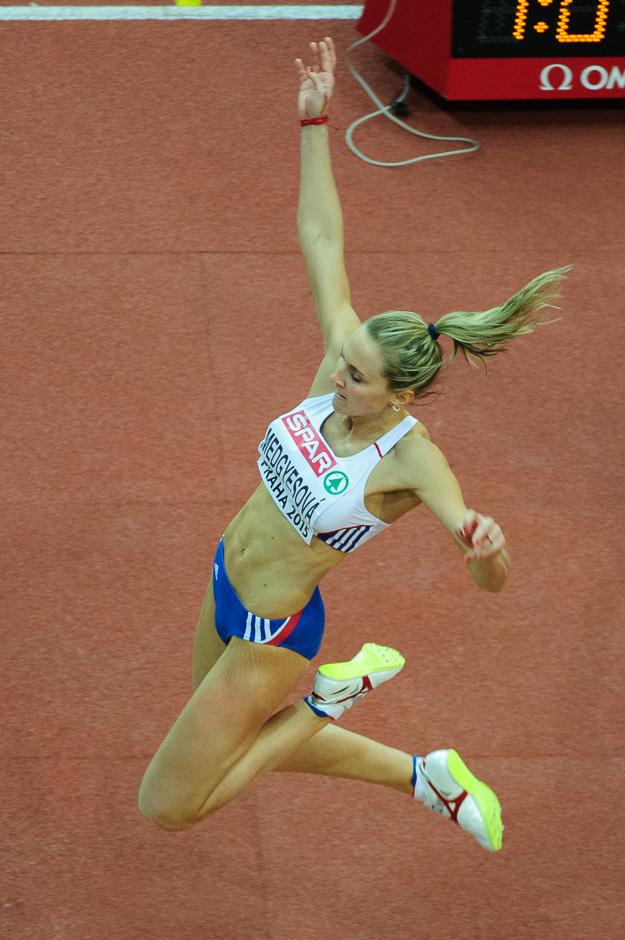 Renáta Medgyesová v kvalifikácii skoku do diaľky počas halových Majstrovstiev Európy v atletike 2014, Piatok 6. Marca 2015, Praha, Česká Republika