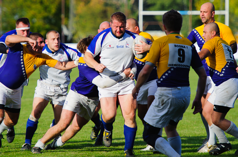 Slovak national rugby team heading for the end zone during match against Bosnia and Herzegovina. Slovakia lost the match in a rarely played game 15:48, Cunovo/Bratislava-Slovakia, Sunday 16.10.2011
