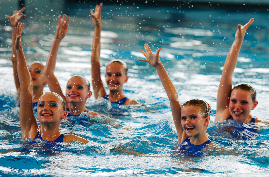 Synchronised swimmers from SK Neptun Praha presenting their group pefrormance during Iuventa Cup 2012, one of the few international competitions held in Slovakia, Bratislava, Slovakia, Saturday 13.5.2012