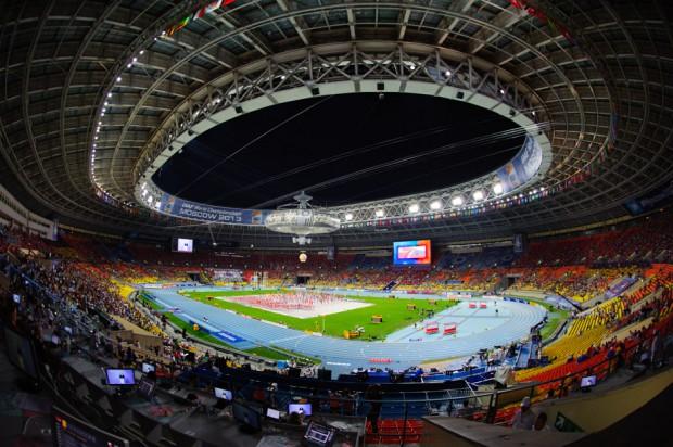 Pohľad na večerný štadión Lužniky s kapacitou vyše 60tisíc miest, dejiska Majstrovstiev sveta v atletike. Moskva, Ruská federácia, Sobota 10.08.2013