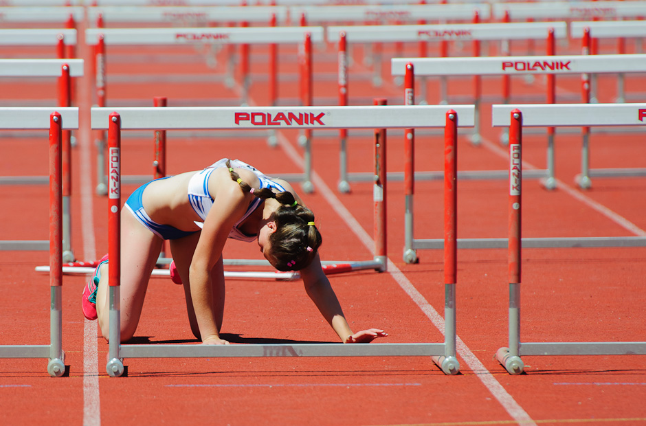 Stanislava Lajčáková (SVK) from AK Spartak Dubnica nad Váhom after falling on the 100m hurdles during the final run Slovak championship in athletics, Banská Bystrica - Slovakia, Sunday 17.6.2012