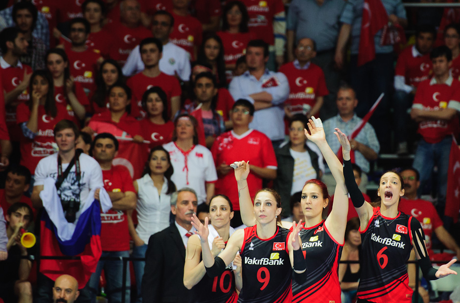 Substitute players of Turkey awaiting end of semi-final match against Russia. Turkey made it into finals with a big support of their home audience. Olympic qualification women 2012, Ankara - Turkey, Saturday 5.5.2012