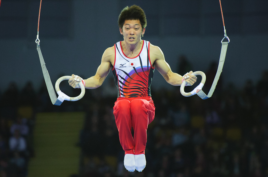 Tanaka Kazuhito (JPN) on rings during Wold Cup in gymnastics held in Glasgow. In all-round competition he ended up on third place and claimed a bronze medal, Glasgow/Scottland - United Kindgdom, Saturday 8.12.2012