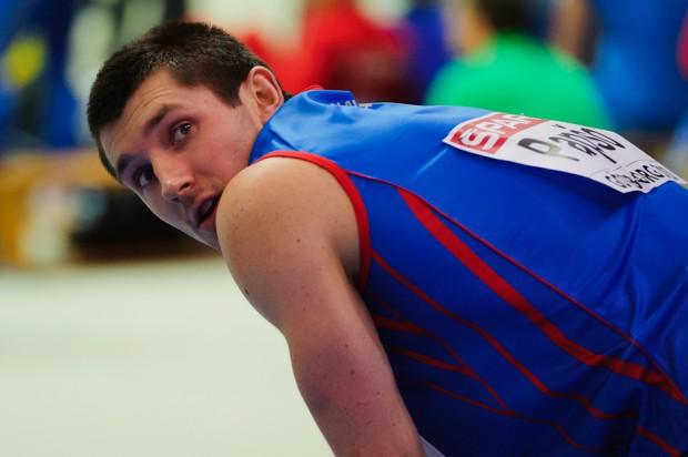 Viliam Papšo po dobehu do cieľa 60m cez prekážky, kde sa nekvalifikoval do semifinále Majstrovstiev Európy v halovej atletike 2013, Göteborg, Švédsko, Piatok 1.3.2013