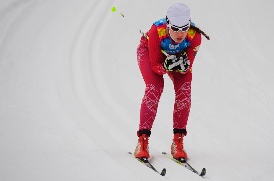 Barbora Klementová po stúpaní v bežeckých pretekoch 5km klasickou technikou počas Zimných Olympíjskych hier mládeže, Seefeld Arena, Innsbruck - Rakúsko, Utorok 17.1.2012