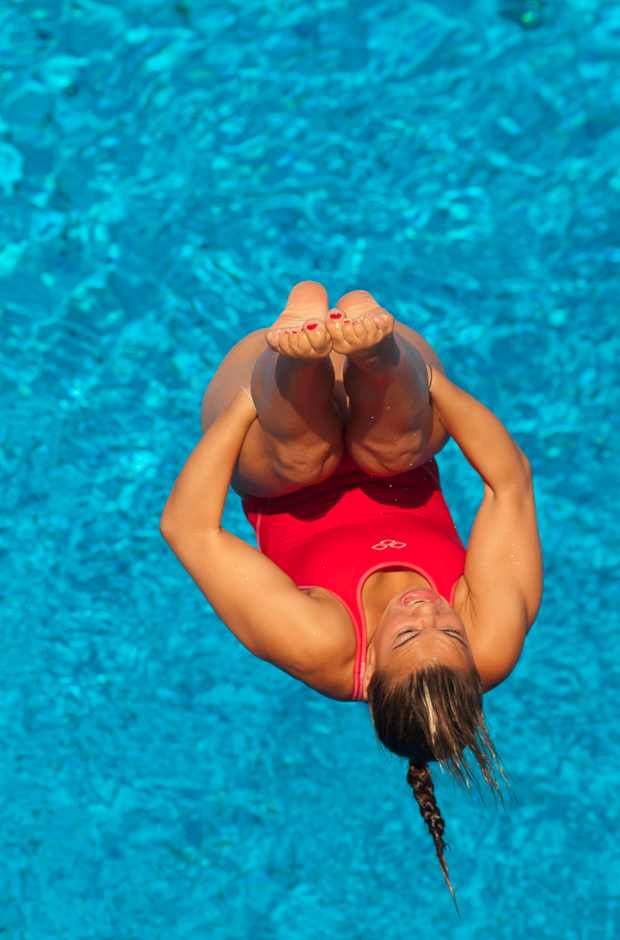 Marion Farissier (FRA) pri kvalifikačných skokoch z 3m dosky. V kvalifikačných skokoch obsadila 19 miesto, čo jej neumožnilo postup do finálového kola. Majstrovstvá Európy v plaveckých športoch, Budapešť - Maďarsko, 14.8.2010