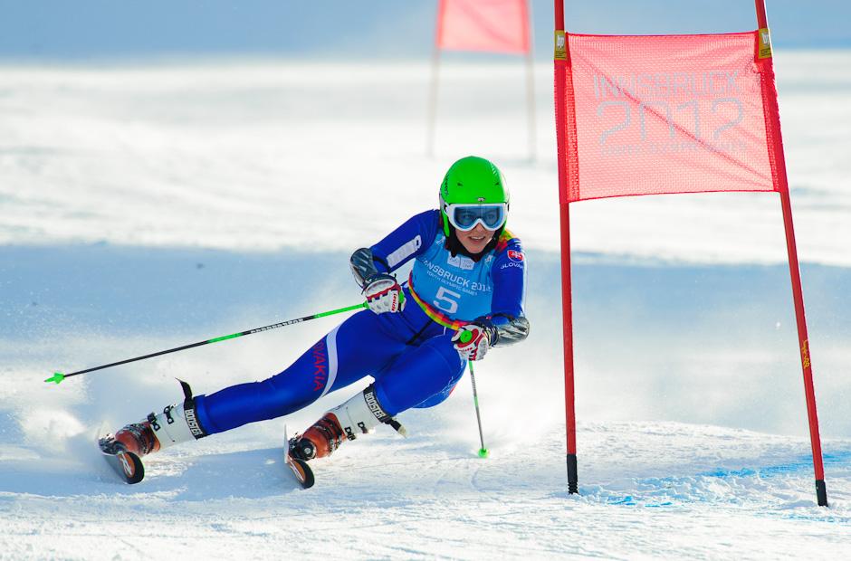 Petra Vlhová počas obrovského slalomu dievčat, Zimné Olympíjske hry mládeže 2012, Innsbruck - Rakúsko, Streda 18.1.2012