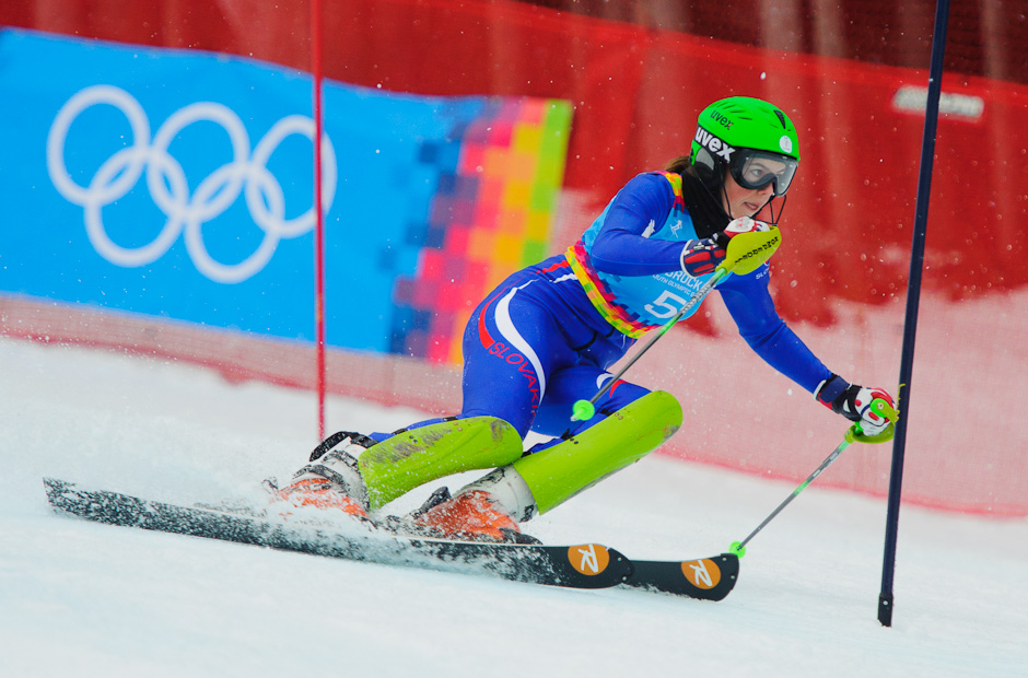 Petra Vlhová v prvom kole slalomu v Patcherkofeli počas Zimných Olympíjskych hier mládeže kde dosiahla najlepší čas s odstupom 0.9sek, Innsbruck - Rakúsko, Piatok 20.1.2012