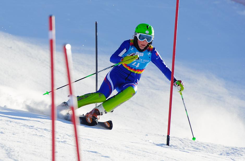 Petra Vlhová počas najlepšej jazdy preteku slalomu superkombinácie, ktorá jej priniesla v celkovom hodnotení 4. miesto. Olympíjske hry mládeže, Innsbruck - Rakúsko, 15.1.2012