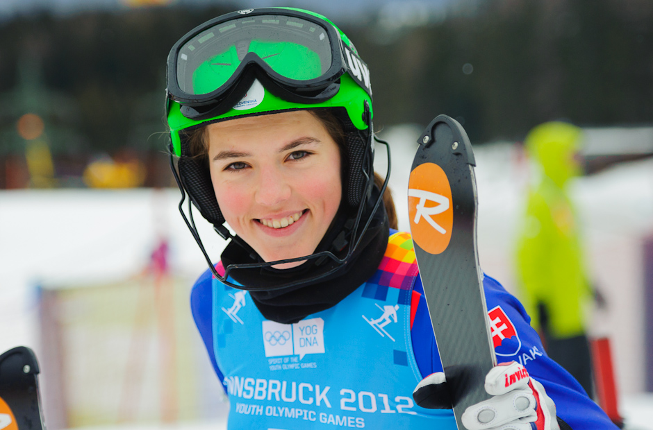 Zjazdárka Petra Vlhová mala po prvom kole slalomu, kde dosiahla suveréjne najlepší čas dobrú náladu, Zimné Olympíjske hry mládeže, Innsbruck - Rakúsko, Piatok 20.1.2012