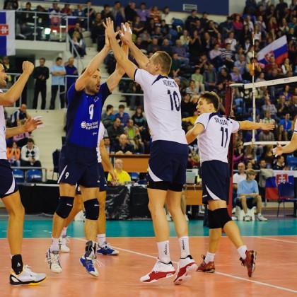 Radosť volejbalistov po výhre nad tímom Španielska, Poprad aréna, Poprad, Streda 23.11.2011