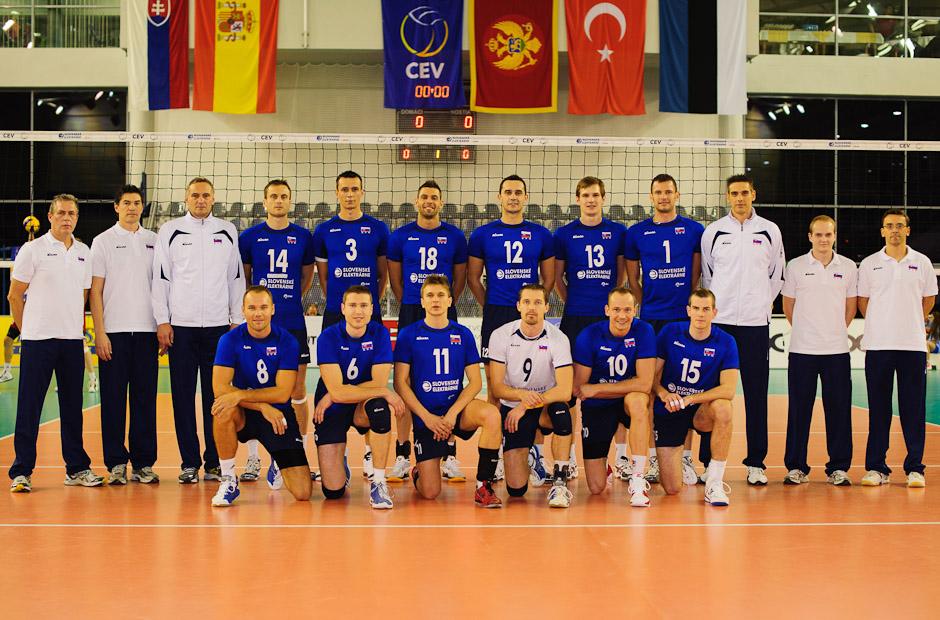 Zostava slovenských volejbalistov olympíjskej predkvalifikácie. Utorok 22.11.2011, Poprad