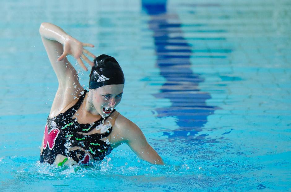 Synchornizované plávanie počas Univerziády 2012 v bazéne Fakulty telesnej výchovy a športu, Sobota, 23.6.2012, Bratislava
